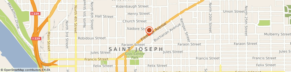 Route/map/directions to Alcoholics Anonymous - 510 Group, 64501 Saint Joseph, 1207 1/2 FREDERICK AVE