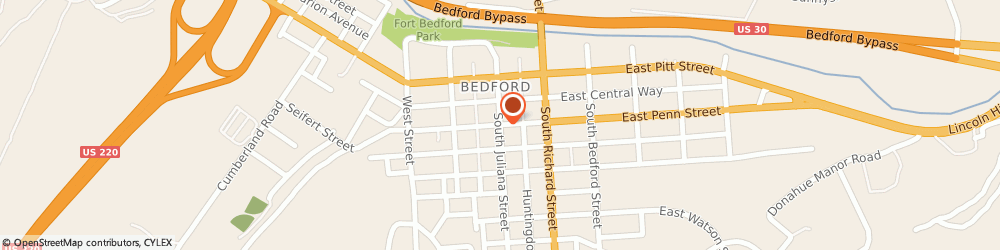 Route/map/directions to Post Office - Bedford, 15522 Bedford, 201 SOUTH JULIANA STREET
