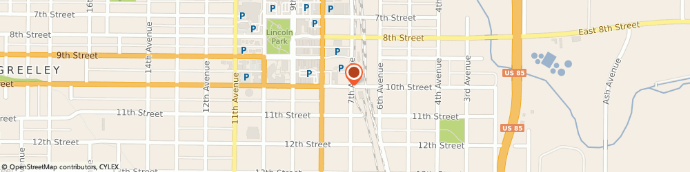 Route/map/directions to B & H Auto Body, 80631 Greeley, 701 10th St.