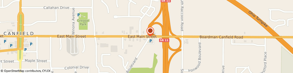Route/map/directions to BP, 44406 Canfield, 599 E MAIN ST