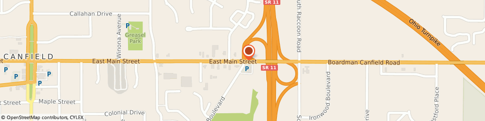 Route/map/directions to Bp Station, 44406 Canfield, 599 E. MAIN ST