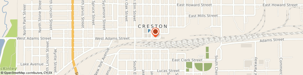 Route/map/directions to First National Bank, 50801 Creston, 101 W ADAMS ST