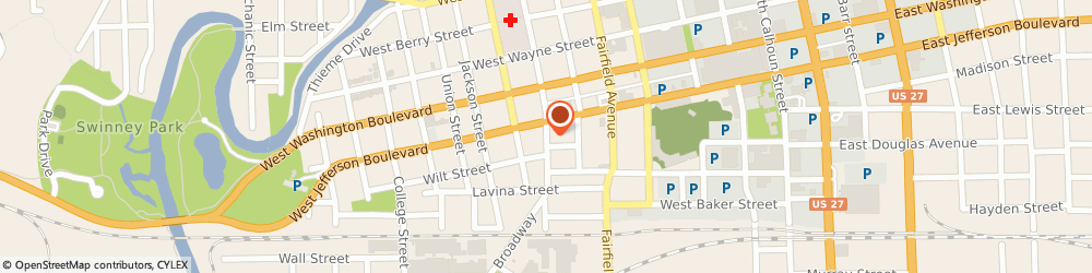 Route/map/directions to American Family Insurance, 46802 Fort Wayne, 1113 BROADWAY
