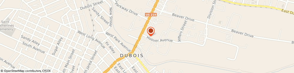 Route/map/directions to Greyhound Bus Lines, 15801 Du Bois, 16 HOOVER AVENUE