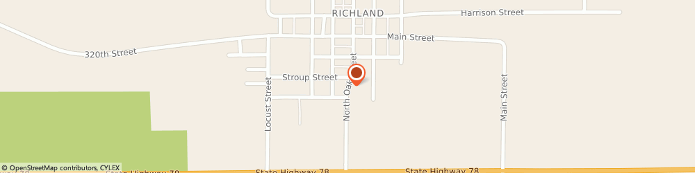 Route/map/directions to BP, 52585 Richland, 307 S OAK ST