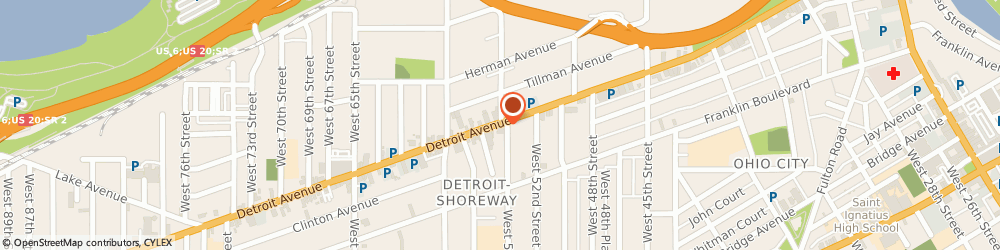 Route/map/directions to Curves Cleveland Near West, 44102 Cleveland, 5407 DETROIT AVE