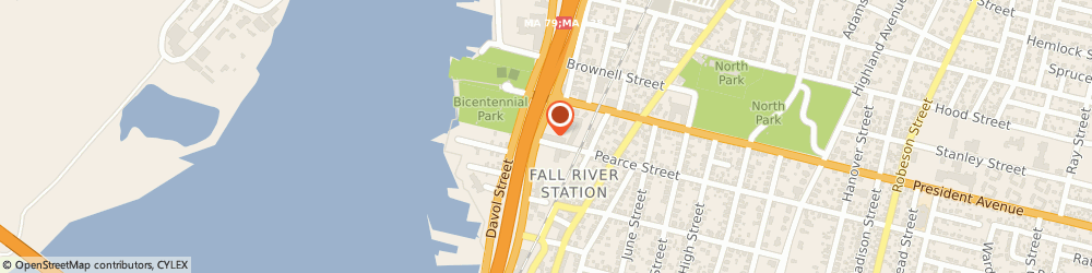 Route/map/directions to Dunkin', 02720 Fall River, 101 President Ave