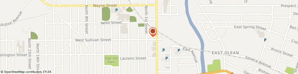 Route/map/directions to Fraternal Order of Eagles, 14760 Olean, 116 W Sullivan St