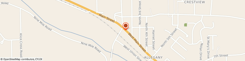 Route/map/directions to Allegany Liquors, 14706 Allegany, 181 WEST MAIN