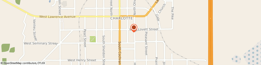 Route/map/directions to Community of Christ Charlotte, 48813 Charlotte, 223 S. Washington