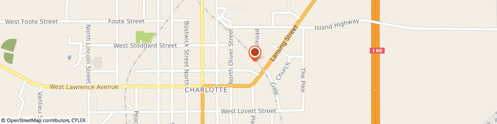 Route/map/directions to TCI, 48813 Charlotte, 321 E. Harris Street