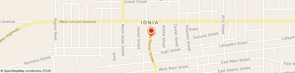 Route/map/directions to KFC, 48846 Ionia, 411 N. Dexter Street