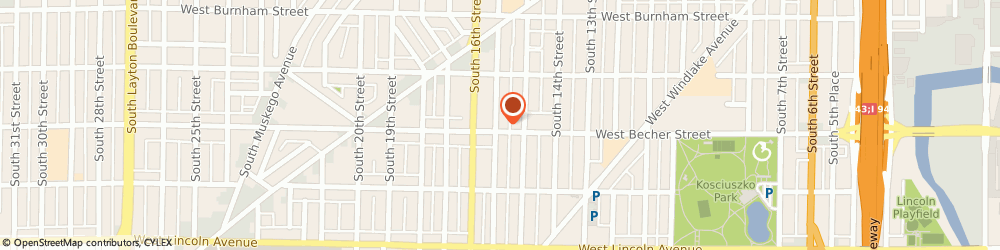 Route/map/directions to STD Testing Services MILWAUKEE, 53215 Milwaukee, 1532 W Becher St