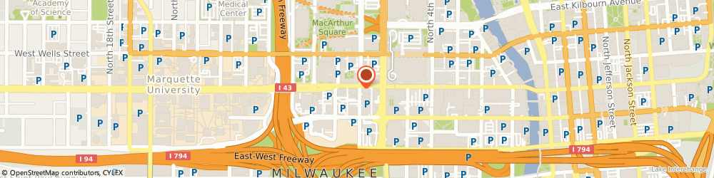 Route/map/directions to Dunkin Donuts, 53233 Milwaukee, 701 WEST WISCONSIN AVENUE