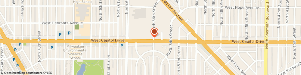 Route/map/directions to Starbucks Coffee Midtown Center-56th & Capitol, 53216 Milwaukee, 5610 W. Capitol Dr.