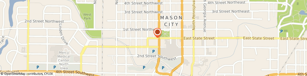 Route/map/directions to CENT CU, 50401 Mason City, 25 West State St.