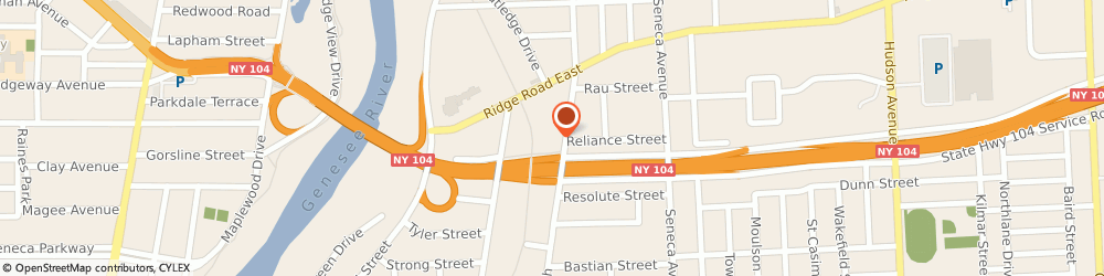 Route/map/directions to Penske Truck Rental, 14621 Rochester, 1711 N Clinton Ave