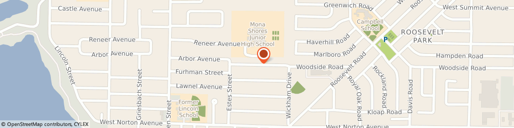 Route/map/directions to Mona Shores Junior High School, 49441 Muskegon, 1700 WOODSIDE RD