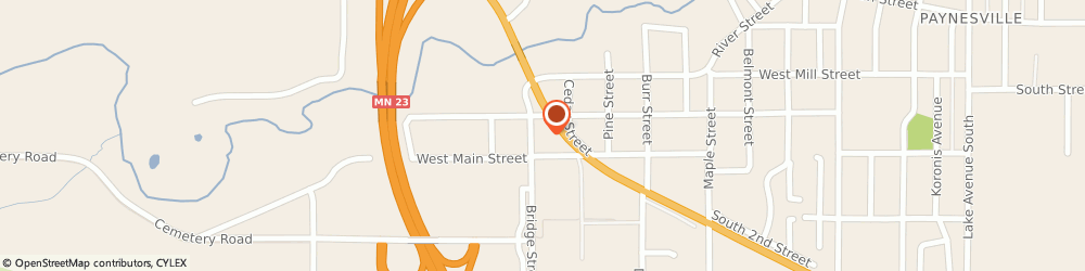 Route/map/directions to A&W Restaurant, 56362 Paynesville, 907 W Minnesota