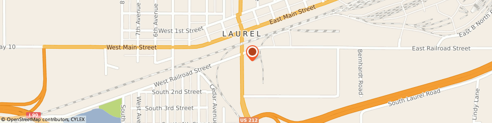 Route/map/directions to Hardee's, 59044 Laurel, 103 S 1st Ave