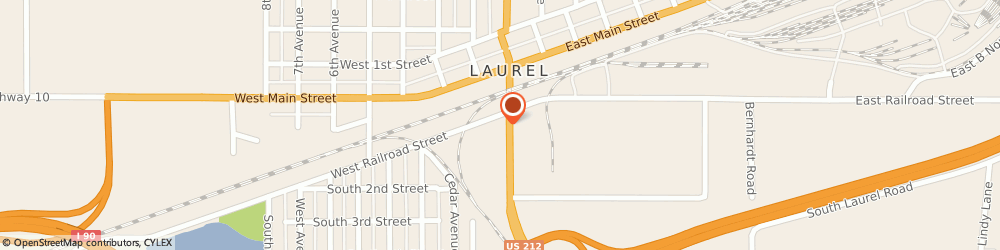 Route/map/directions to Taco John's, 59044 Laurel, 101 1st St S