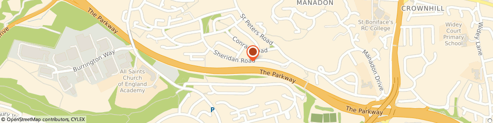 Route/map/directions to Allied Care Honeybourne House, PL5 3HA Plymouth, Honeybourne Nursing Home 98 Sheridan Road
