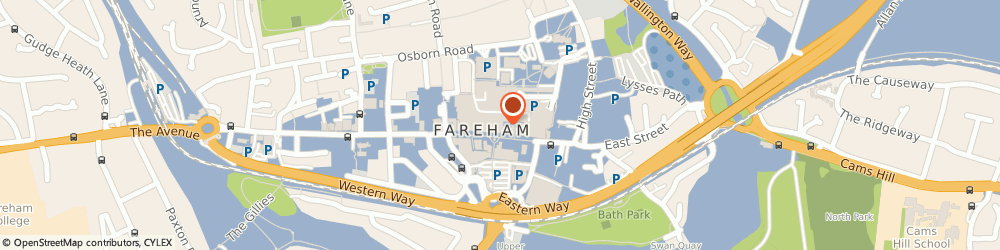 Route/map/directions to The Canvas Printing Company, PO16 0PQ Fareham, Fareham Shopping Center, 28 Thackeray Mall