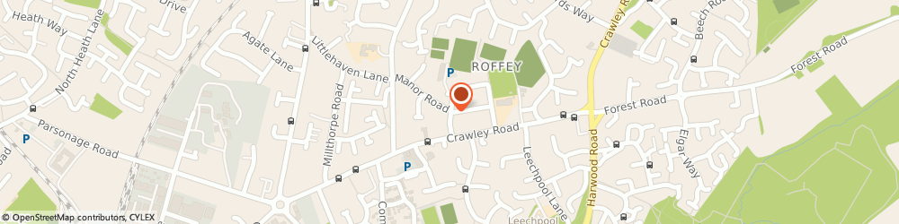 Route/map/directions to Roffey Club, RH12 4DY Horsham, Spooners Road