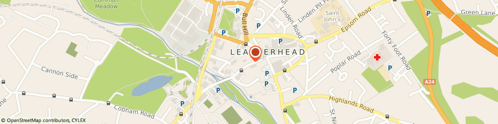 Route/map/directions to Claremont Homes Limited, KT22 8BL Leatherhead, Bridge House, 27 Bridge Street