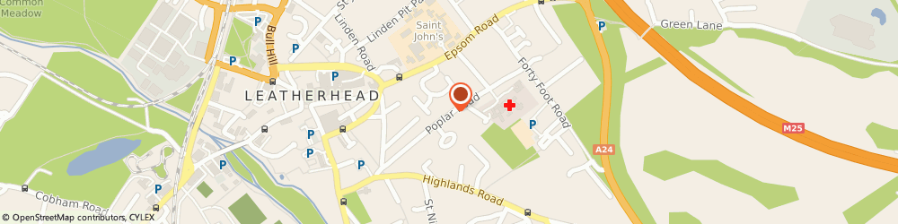 Route/map/directions to Leatherhead Hospital, KT22 8SD Leatherhead, POPLAR ROAD
