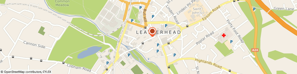Route/map/directions to Four Seasons Taxis, KT22 8BZ Leatherhead, 12-14 Bridge Street