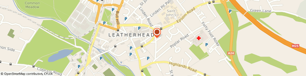 Route/map/directions to The Leatherhead Clubhouse, KT22 8DY Leatherhead, 23 The Crescent