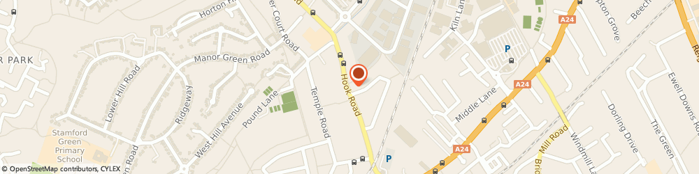 Route/map/directions to St Ebbas Hospital, KT19 8QJ Epsom, Hook Road