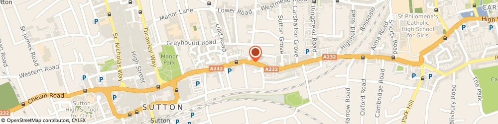 Route/map/directions to Sutton Removals, SM1 4LE Sutton, CARSHALTON RD