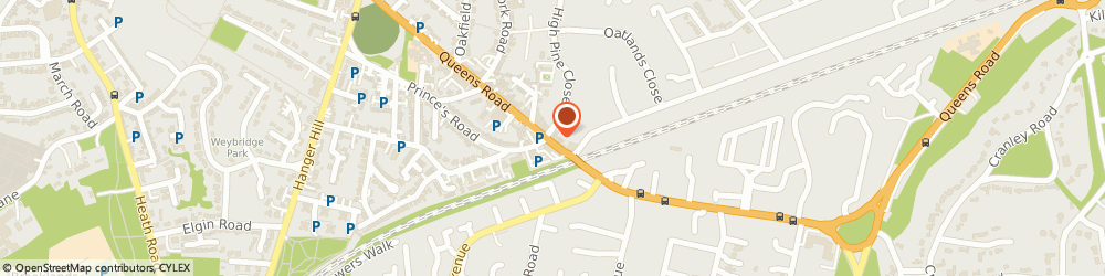 Route/map/directions to P J Insurance Brokers Ltd, KT13 9UN Weybridge, 113 Queens Rd