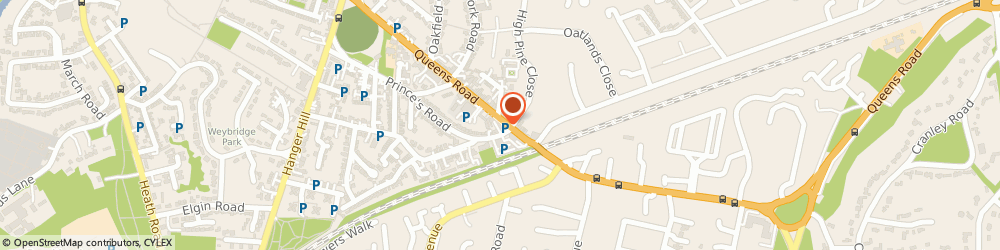 Route/map/directions to Aaro Cars, KT13 9UT Weybridge, 28 Queens Rd, Investment House