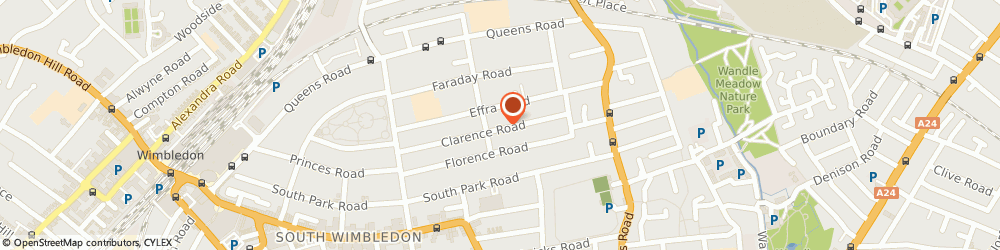 Route/map/directions to Juliet Merz, SW19 8QB London, 93 Clarence Rd