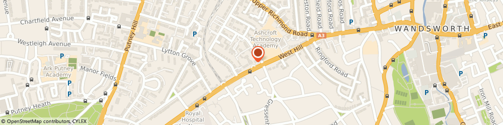 Route/map/directions to The Pines Nursing Home, SW15 2UQ London, 104 West Hill