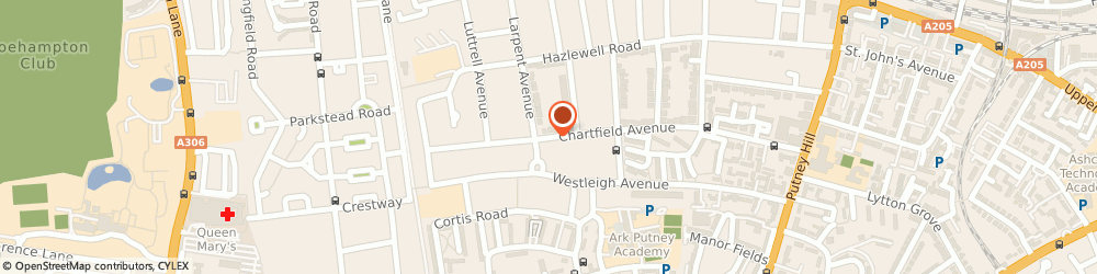 Route/map/directions to Dr Diana Voller - Psychotherapist, SW15 6HP London, 43 Chartfield Ave