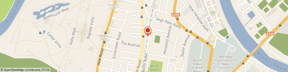 Route/map/directions to Rara Restaurant, TW9 3LU Richmond, 279 Sandycombe Road