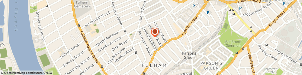 Route/map/directions to Conker Design Ltd, SW6 5AA London, Fulham Park House, 1a, Chesilton Rd