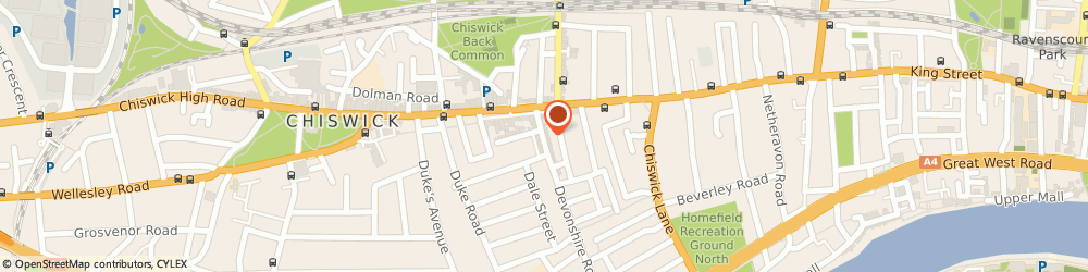 Route/map/directions to Pamper, W4 2HD London, 16 DEVONSHIRE ROAD