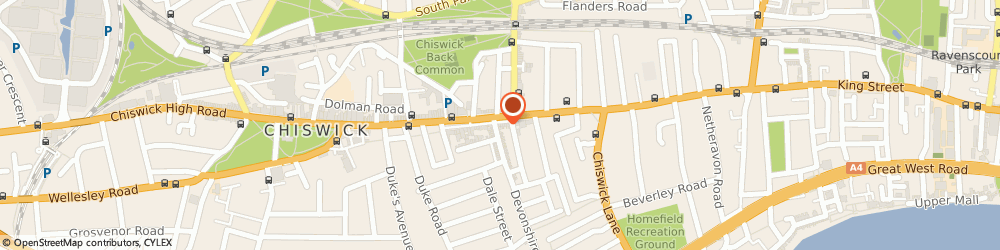 Route/map/directions to Clean & Press, W4 2DT London, 161 CHISWICK HIGH ROAD