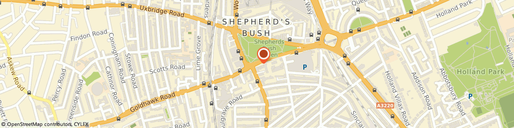Route/map/directions to Sunshine Minicab Co, W12 8PS London, 54 Sheppards Bush Green