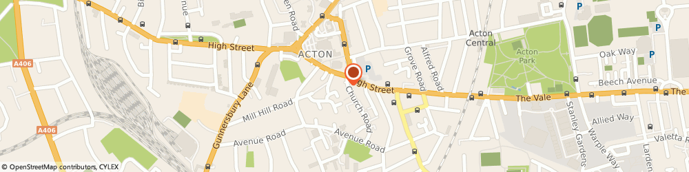 Route/map/directions to W S Bond Funeral Directors, W3 8PP Acton, 8 Church Road