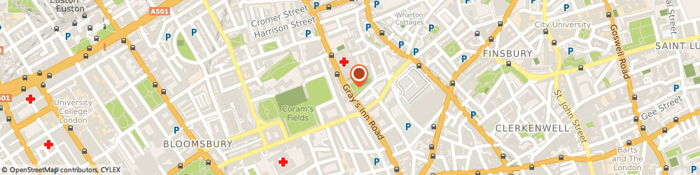 Route/map/directions to Youngs- Calthorpe Arms London, WC1X 8JR London, 252 GRAYS INN ROAD