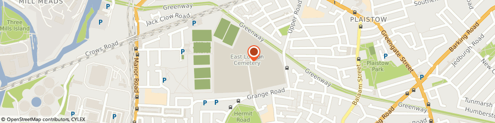 Route/map/directions to East London Crematorium and Cemetery, E13 0HB Newham, Grange Road
