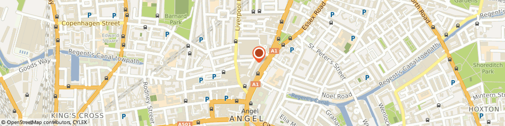 Route/map/directions to Angel Central, N1 0PS London, 16 Parkfield St