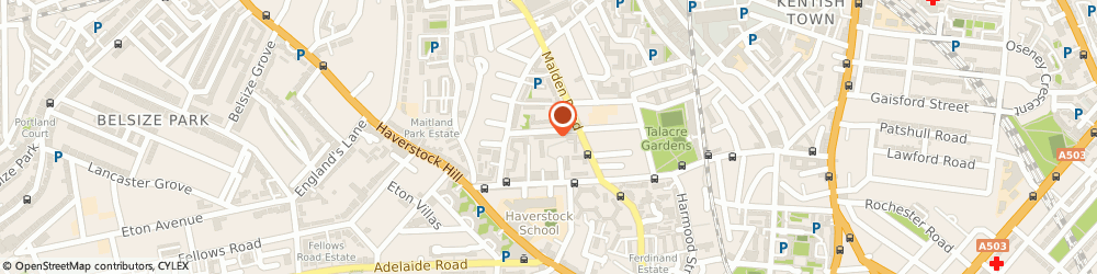 Route/map/directions to Stop The Press!, NW5 3JA London, 71 Marsden St, Belsize Park