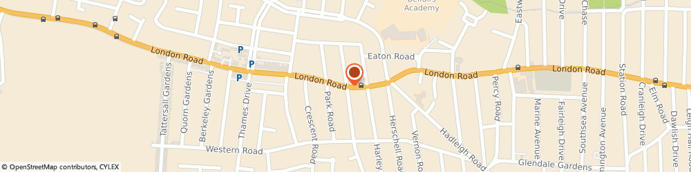 Route/map/directions to Caroline Southgate Mcsp, SS9 2SQ Leigh-On-Sea, 1629, LONDON ROAD